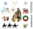 Set of ten Christmas or Holiday Icons. Raster version of Vector Illustration. - stock