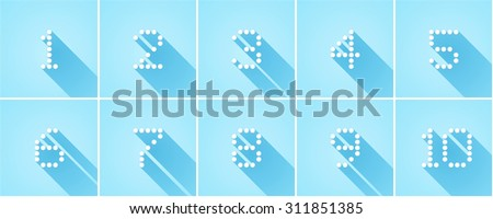 set of ten numbers. illustration flat style with long shadow