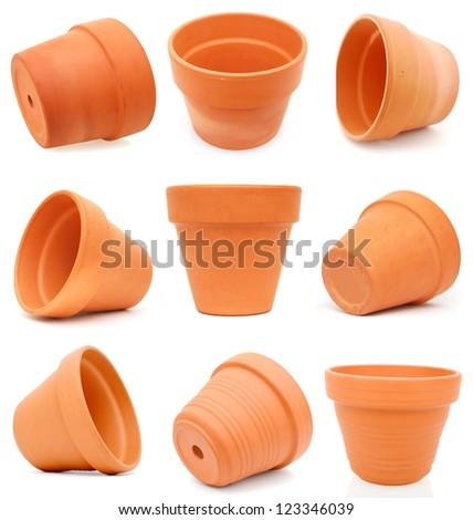 Set of terracotta flower pots - stock photo