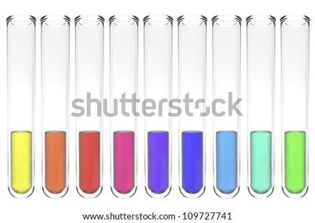 set of test tubes with shiny colorful liquids isolated on white - stock photo