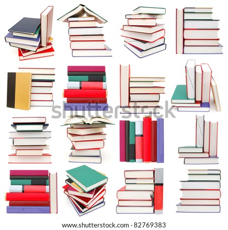 set of textbook piles - stock photo