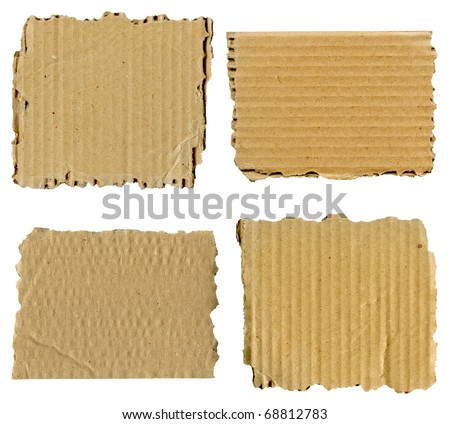 Set of textured cardboard with torn edges isolated over white - stock photo