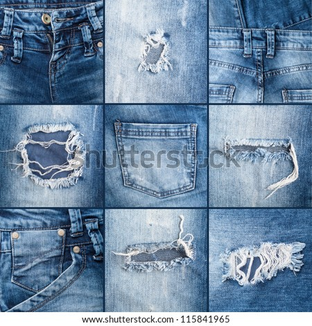 set of textures ripped jeans - stock photo