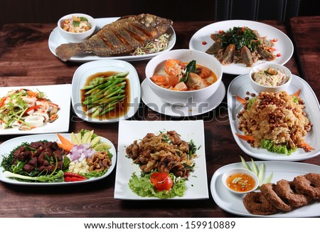 Set of Thai food popular menu - stock photo