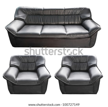 set of the black leather sofa isolated on white - stock photo