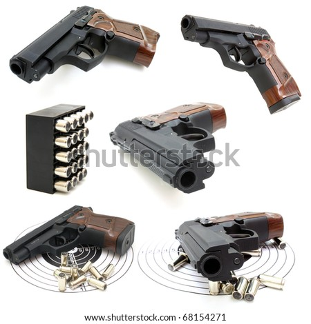 Set of The close up of a pistol a target and cartridges is isolated on a white background - stock photo