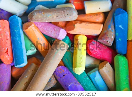 Set of the colored chalks - stock photo