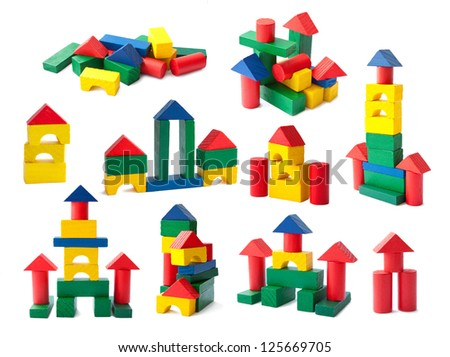 Set of the colorful wooden children's building blocks isolated on white background - stock photo