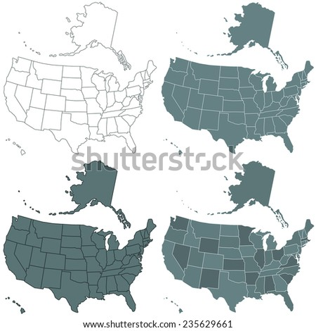 Set of the contour USA maps illustration. All objects are independent and fully editable.  - stock photo