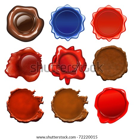 Set of the different 9 sealing wax seals for any purposes