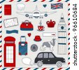 Set of the doodle sketches. London  travel theme. - stock photo