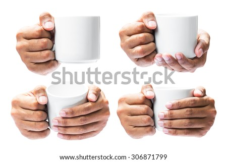 Set of the human hand hold on coffee cup isolated in white background with clipping path - stock photo