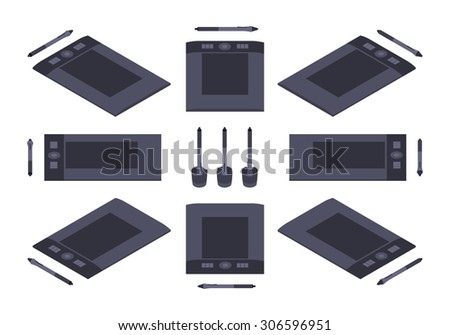 Set of the isometric graphic tablets. The objects are isolated against the white background and shown from different sides - stock photo
