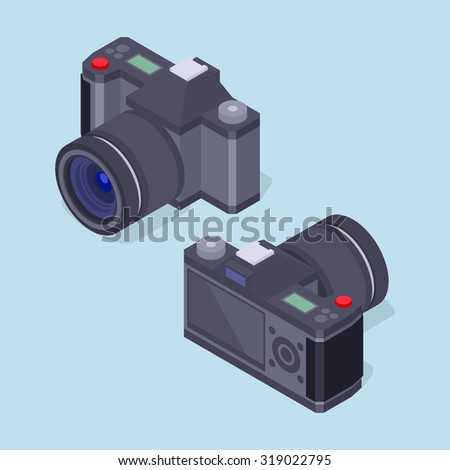 Set of the isometric photo cameras. The objects are isolated against the light-blue background and shown from two sides