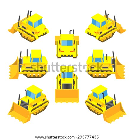 Set of the isometric yellow bulldozers. The objects are isolated against the white background and shown from different sides - stock photo