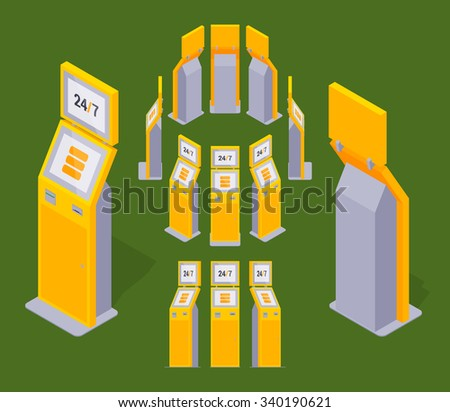 Set of the isometric yellow payment terminals. The objects are isolated against the green background and shown from different sides - stock photo