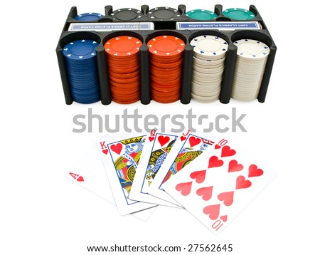 Set of the playing chips and cards at the white - stock photo