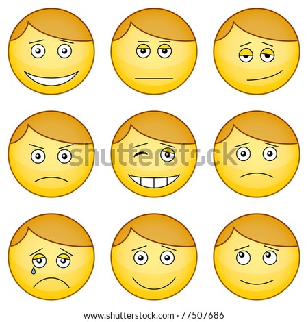 Set of the round smilies symbolizing various human emotions - stock photo