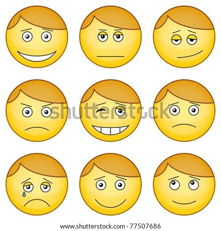 Set of the round smilies symbolizing various human emotions - stock photo