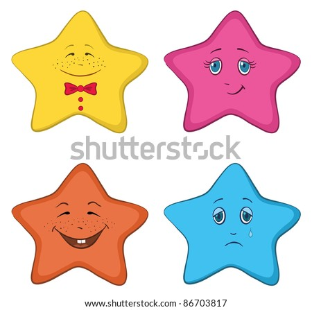 set of the stars smilies symbolising various human emotions - stock photo