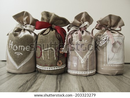 set of the vintage doorstops in the shabby chic style - stock photo