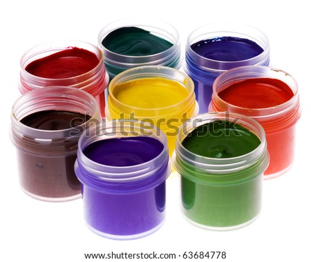 Set of the watercolor gouache paints at the white background - stock photo