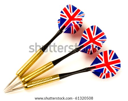 Set of Thee Playing darts with union jack flight on white background - stock photo