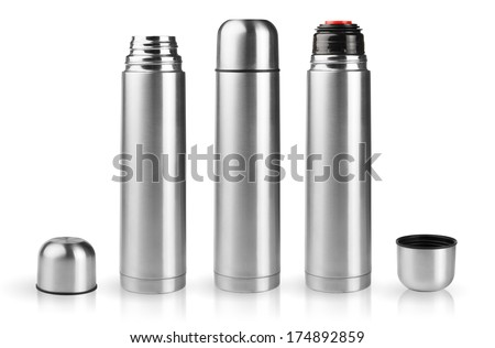 Set of thermoses in silver metallic case in assembled and disassembled condition isolated on white background - stock photo