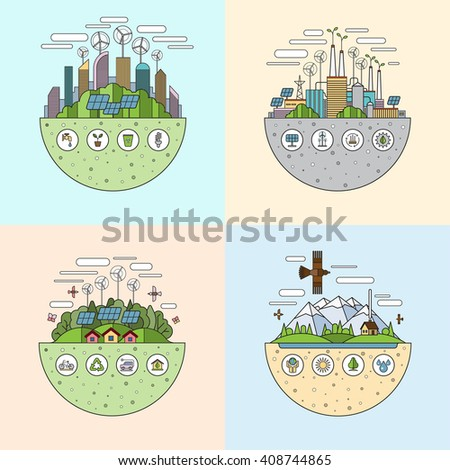 Set of thin line flat ecology concept illustrations with icons of environment, green city, eco life, nature saving, alternative energy, zero emissions, recycling, eco-friendly transport. Bitmap copy - stock photo