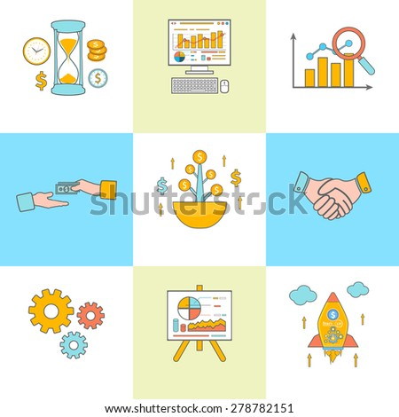 Set of thin line icons of growth, time is money, business training, analytics, funding, partners, organization, statistics and start up concepts in flat style. Banners concept. Raster version - stock photo