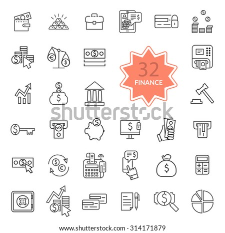 Set of thin, lines, outline financial service items icons, banking accounting tools, stock market global trading and money objects and elements. Flat thin line icon modern design style. Raster version