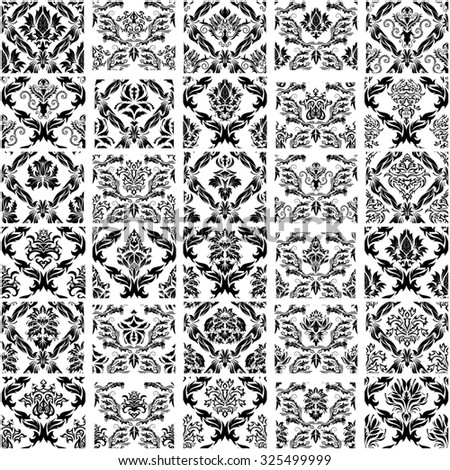 Set of Thirty Damask Seamless Vector Patterns.  Elegant Design in Royal  Baroque Style Background Texture. Floral and Swirl Elements. Ideal for Textile Print and Wallpapers.