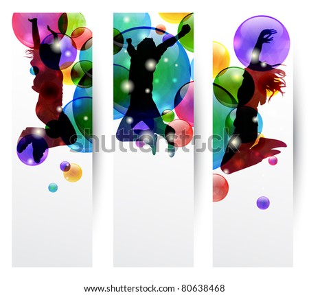 Set of three banner with happy jumping people - stock photo
