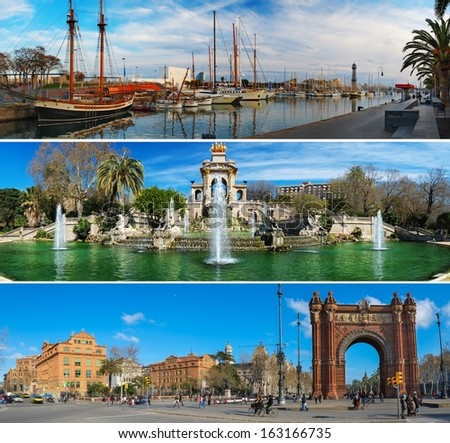 Set of three Barcelona attractions panoramas  - stock photo