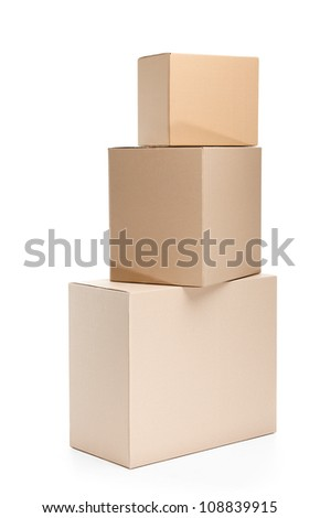 Set of three cardboard boxes, isolated, white background - stock photo