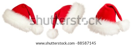 set of three Christmas Santa hats - stock photo
