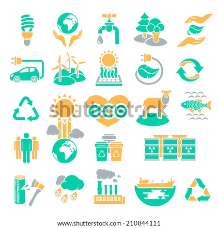 Set of three colors silhouette icons of ecology theme, including alternative energy sources, environmental issues and also conservation of natural resources and the influence of human on the planet - stock photo