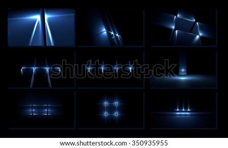 Set of three-dimensional light design elements on black background - stock photo
