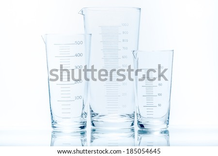 Set of three empty temperature resistant conical beakers of different capacity for measurements