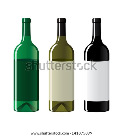 Set of three empty vine bottles with blank labels