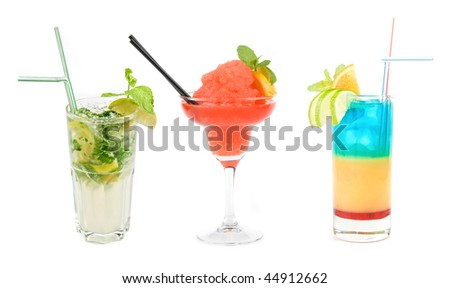 Set of three Fresh cocktails isolated on a white background - stock photo