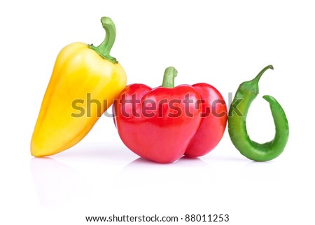 Set of three fresh peppers Isolated on a white background - stock photo