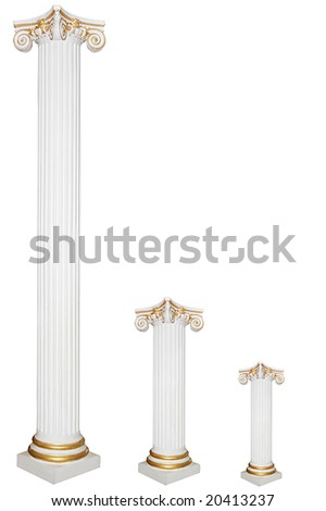 Set of three greek columns of different sizes with gold borders, isolated on white - stock photo