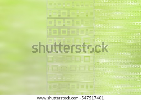 Set of three green backgrounds and illustrations with abstract picture