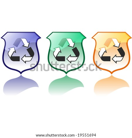 Set of Three High Quality Recycling Icons Jpeg - stock photo