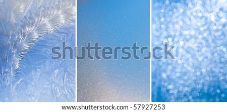 Set of three ice textures - stock photo