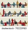 Set of three illustrated foreground silhouettes of colorful business meetings - stock vector