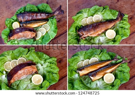 Set of three kind of smoked sea fish: cod (hake), halibut and mackerel. Wood, lemons and lettuce leaves at background.