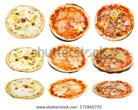 set of three kinds of italian pizza isolated on white background - stock photo