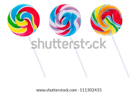 Set of three lollipops, isolated on white background